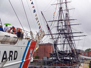 USCG Barque Eagle & USS Constitution in Charlestown Navy Yard