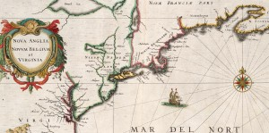 Extracted from 1632 Map of New England 300x149 The Coming of the Europeans   Early Exploration of New England