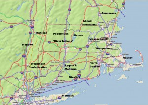 Rough Locations of Primary New England Native American Tribes